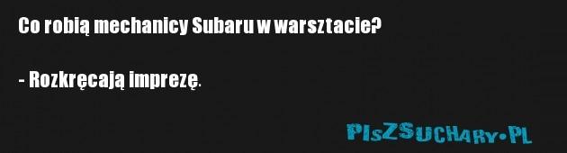 Co robią mechanicy Subaru w warsztacie?  - Rozkręcają imprezę.