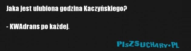 Jaka jest ulubiona godzina Kaczyńskiego?  - KWAdrans po każdej.