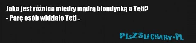 Jaka jest różnica między mądrą blondynką a Yeti?  - Parę osób widziało Yeti...