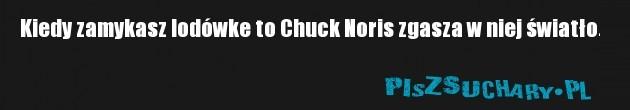 Kiedy zamykasz lodówke to Chuck Noris zgasza w niej światło.