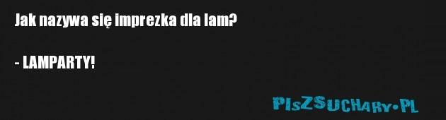 Jak nazywa się imprezka dla lam?  - LAMPARTY!