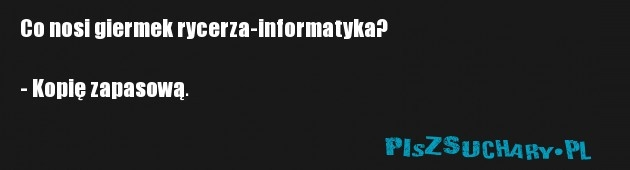 Co nosi giermek rycerza-informatyka?  - Kopię zapasową.