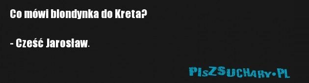 Co mówi blondynka do Kreta?  - Cześć Jarosław.