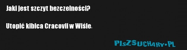 Jaki jest szczyt bezczelności?  Utopić kibica Cracovii w Wiśle.
