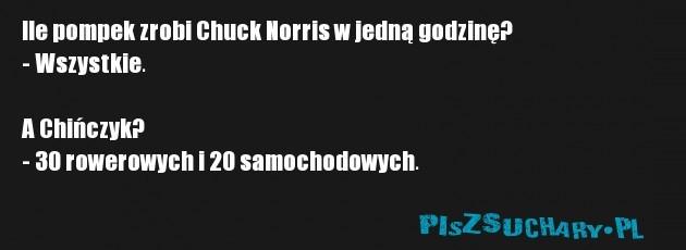 Ile pompek zrobi Chuck Norris w jedną godzinę? - Wszystkie.  A Chińczyk? - 30 rowerowych i 20 samochodowych.