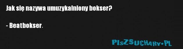 Jak się nazywa umuzykalniony bokser?  - Beatbokser.