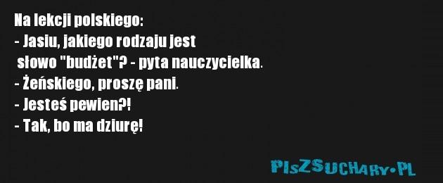 """Na lekcji polskiego: - Jasiu, jakiego rodzaju jest  słowo """"budżet""""? - pyta nauczycielka. - Żeńskiego, proszę pani. - Jesteś pewien?! - Tak, bo ma dziurę!"""