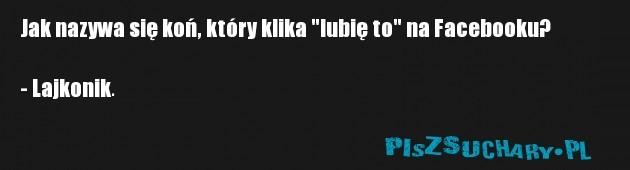 """Jak nazywa się koń, który klika """"lubię to"""" na Facebooku?  - Lajkonik."""