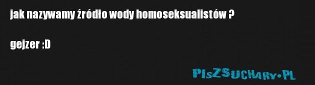jak nazywamy źródło wody homoseksualistów ?  gejzer :D