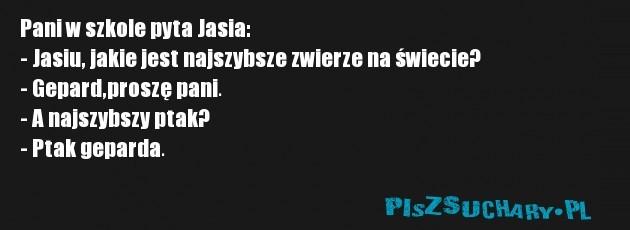 Pani w szkole pyta Jasia: - Jasiu, jakie jest najszybsze zwierze na świecie? - Gepard,proszę pani. - A najszybszy ptak? - Ptak geparda.