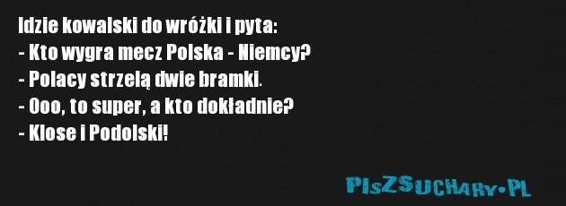 Idzie kowalski do wróżki i pyta: - Kto wygra mecz Polska - Niemcy?  - Polacy strzelą dwie bramki. - Ooo, to super, a kto dokładnie? - Klose i Podolski!
