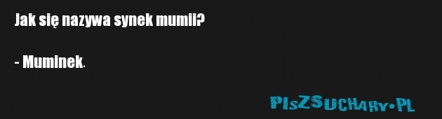 Jak się nazywa synek mumii?  - Muminek.