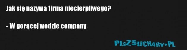 Jak się nazywa firma niecierpliwego?  - W gorącej wodzie company.