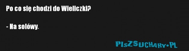 Po co się chodzi do Wieliczki?  - Na solówy.