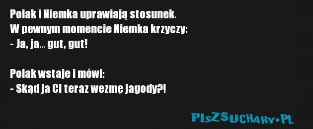 Polak i Niemka uprawiają stosunek. W pewnym momencie Niemka krzyczy: - Ja, ja... gut, gut!  Polak wstaje i mówi: - Skąd ja Ci teraz wezmę jagody?!
