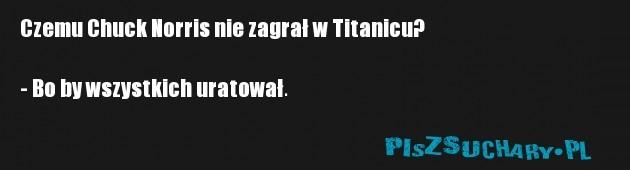 Czemu Chuck Norris nie zagrał w Titanicu?  - Bo by wszystkich uratował.