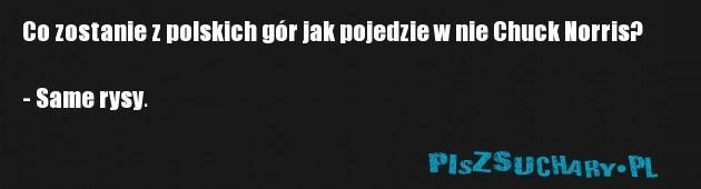 Co zostanie z polskich gór jak pojedzie w nie Chuck Norris?  - Same rysy.