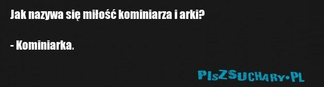Jak nazywa się miłość kominiarza i arki?  - Kominiarka.